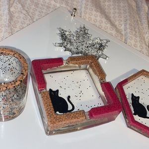 Resin ashtray, Coaster, and cup organizer bundle